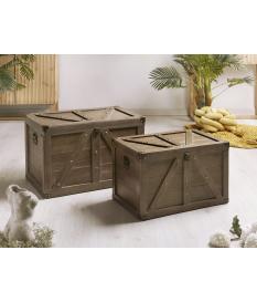 Set dos baúles listones madera