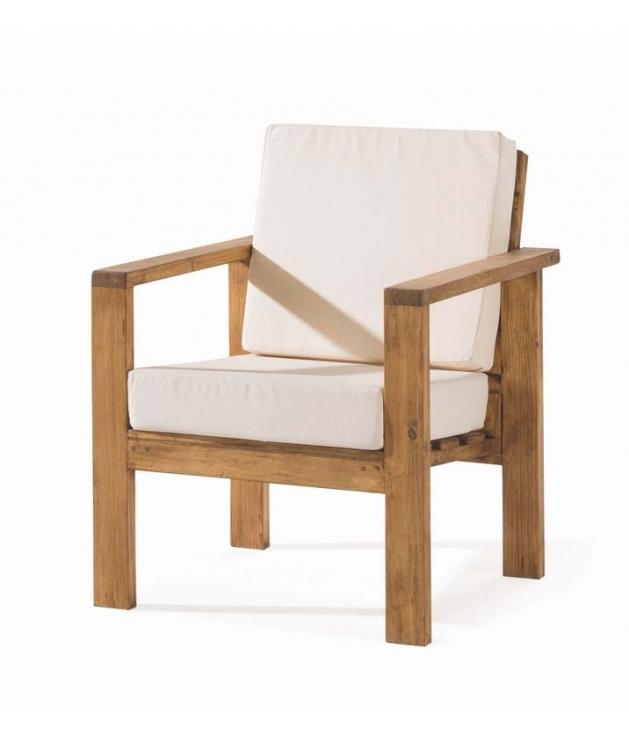 Comprar sill n de madera rustico de la colecci n minimal for Sillon cama de madera