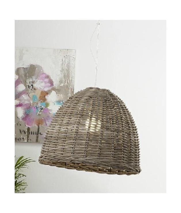 Lámpara techo rattan grey