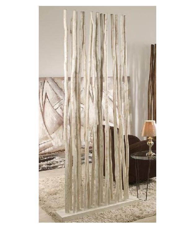 Separador ambientes ramas madera teka blanco