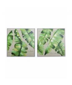 Set 2 cuadros hojas verdes