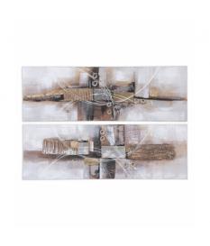 Set 2 lienzos collage abstracto