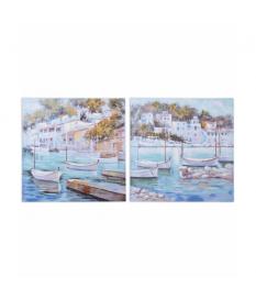 Set 2 lienzos puerto con barcos