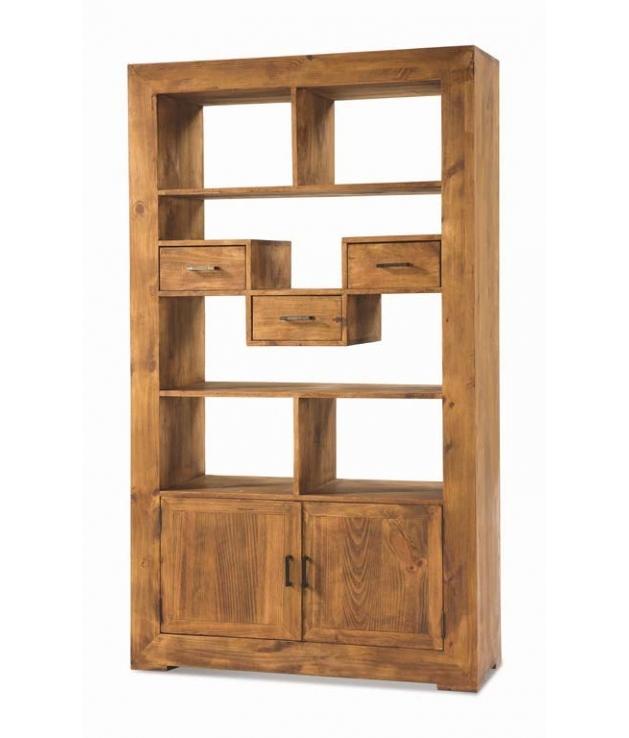 Librero madera rustico de 190 cm alto Zoom