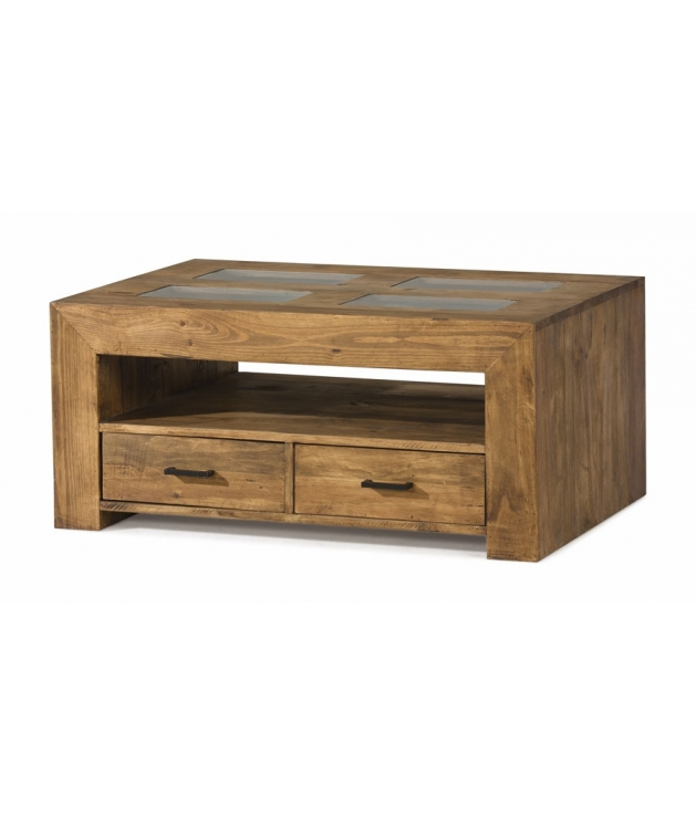 Comprar mesa centro de madera estilo rustico con cajones y cristal - Mesa rustica madera ...