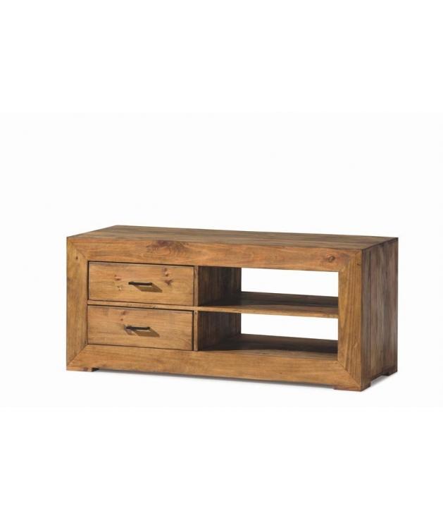 Comprar mueble tv de madera en estilo rustico con dos for Muebles con cajones de madera