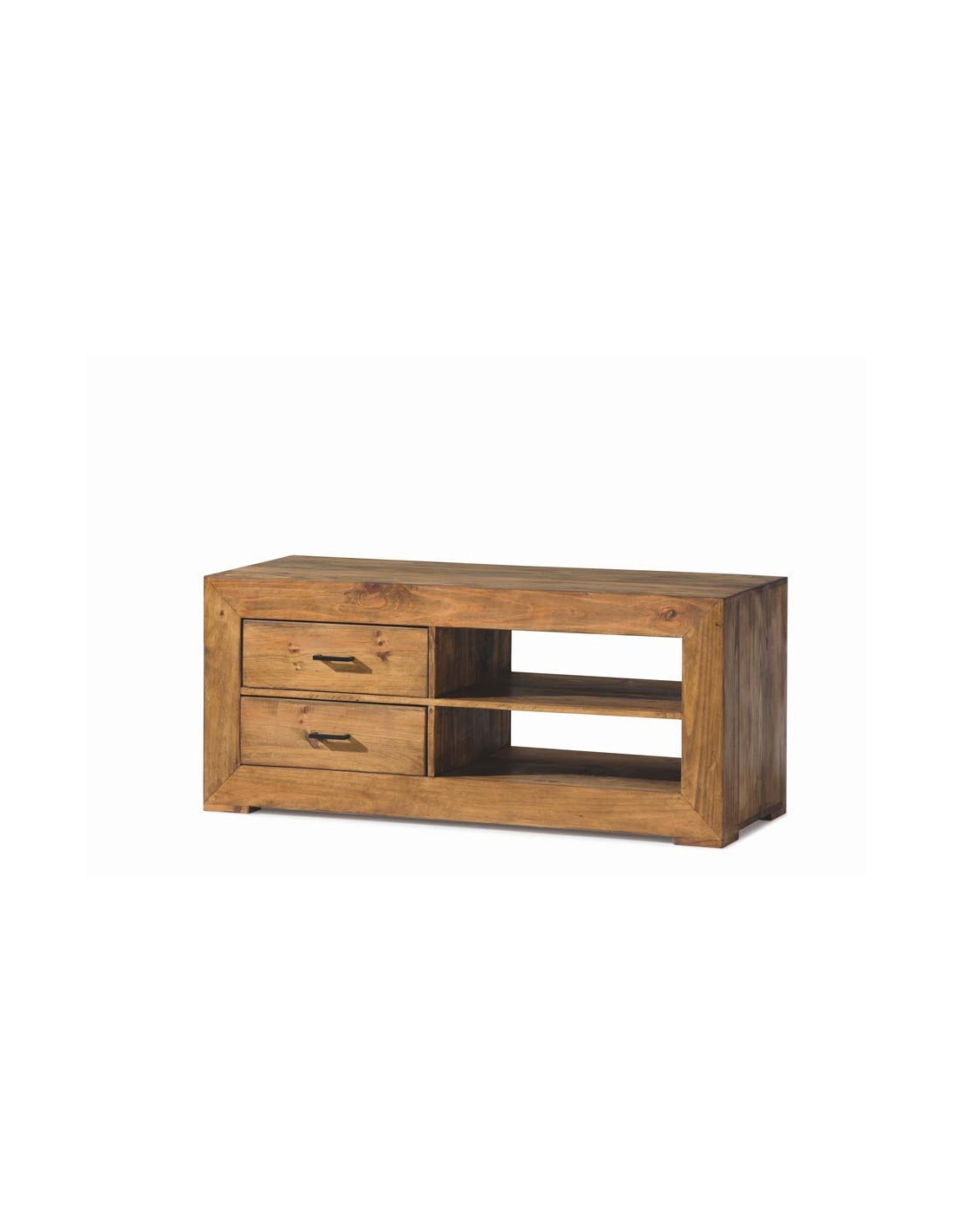 Comprar mueble tv de madera en estilo rustico con dos for Muebles estilo rustico