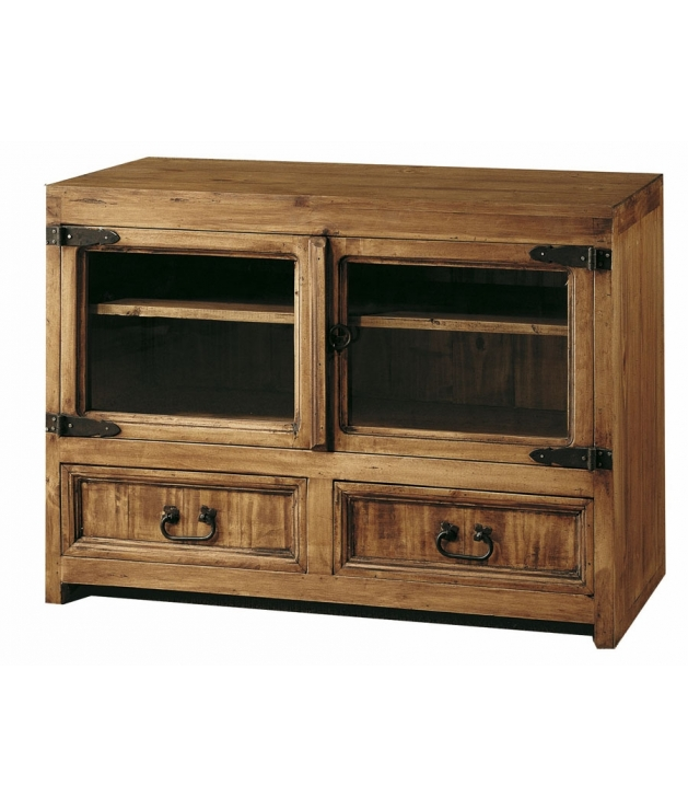 Comprar mueble tv de madera de estilo rustico de 100 cm de for Mueble 25 cm ancho