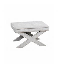 Pie de cama velvet gris con tachuelas 62x42x37 cm