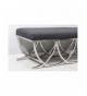 Banqueta descalzadora de acero inoxidable con asiento de lino en color negro
