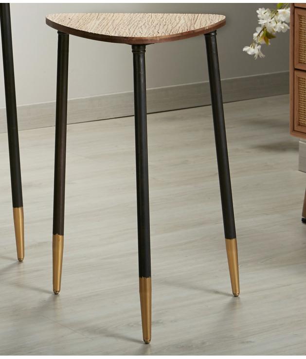 Mesa auxiliar oval metal y madera 40 cm