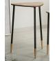 Mesa auxiliar oval metal y madera 50 cm