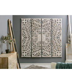 Panel de madera tallada blanco decapado 180 cm