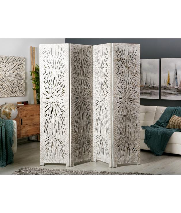Biombo separador madera tallada abstracto blanco decapado