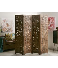 Biombo separador madera tallada abstracto marrón
