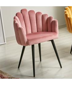 Silla Aiko terciopelo rosa pálido y patas metal negras