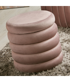 Puff contenedor Aiko terciopelo rosa pálido