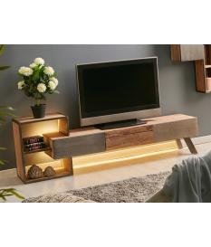 Mueble TV Binnaz acacia, metal y cemento
