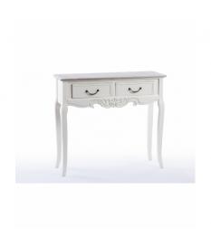 Consola blanca con tapa madera natural 90x30x80 cm