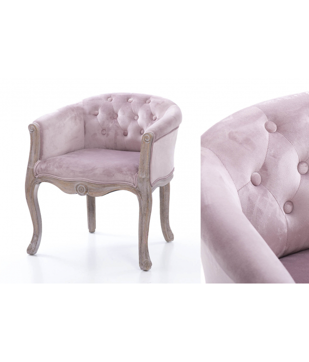 Butaca Sicilia velvet rosa palo con capitone