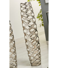 Jarrón aluminio troquelado plata 100 cm