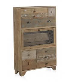 Mueble zapatero madera natural tres cajones