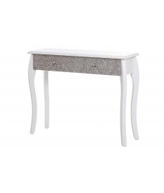 Consola recibidor madera blanca y plata tallada de 100 cm