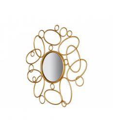 Espejo redondo dorado círculos y elipses