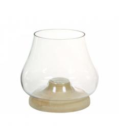 Porta velas de cristal con pie de madera