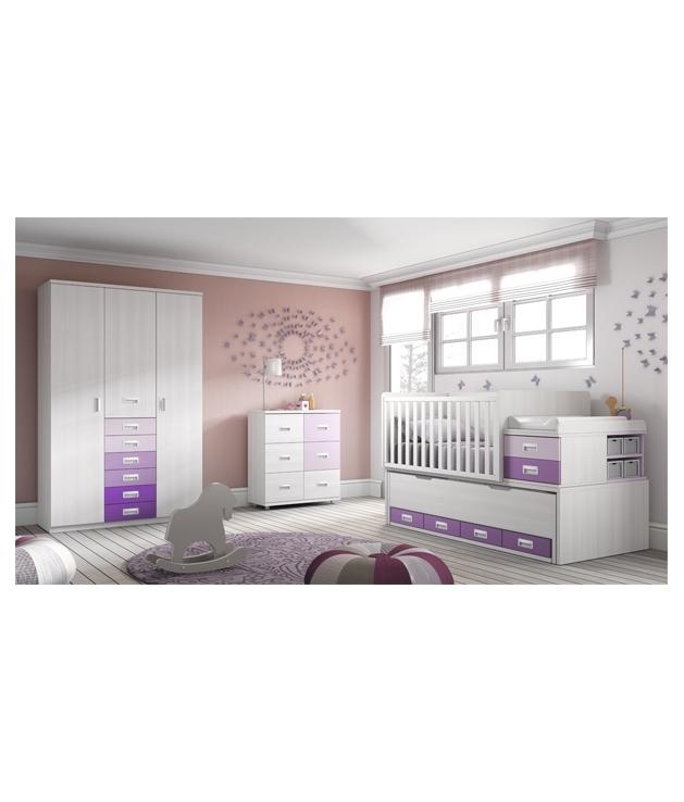 Comprar composici n c114 de habitaci n bebe con cuna - Habitacion convertible bebe ...