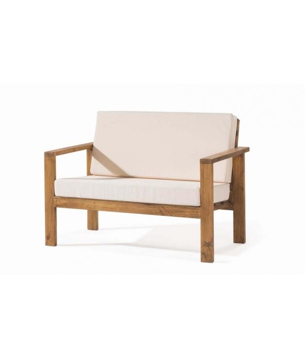 Comprar sof de madera de dos plazas estilo rustico minimal for Sofa terraza madera