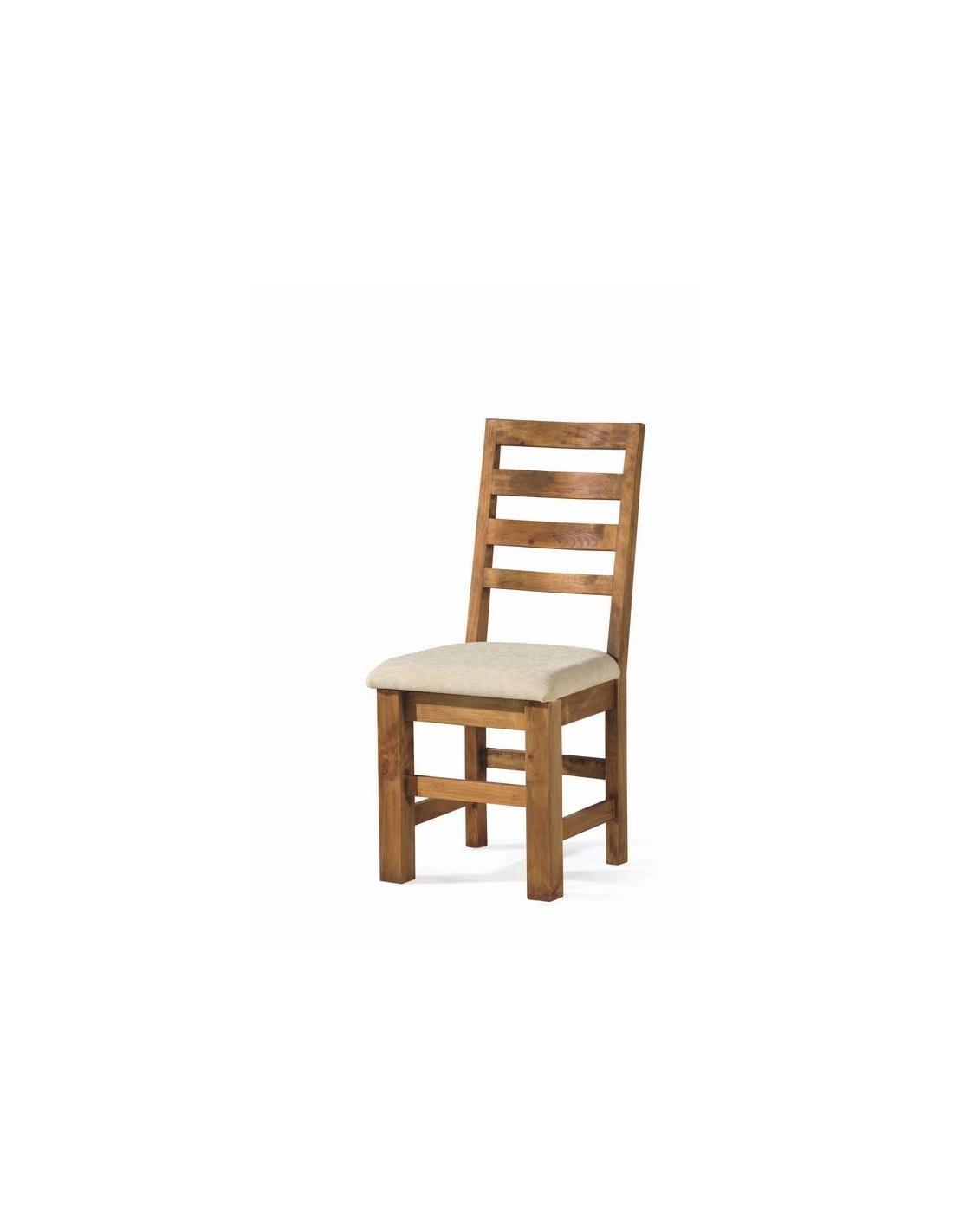 Comprar silla de comedor rustica asiento tapizado 50032 zoom - Sillas rusticas de madera para comedor ...