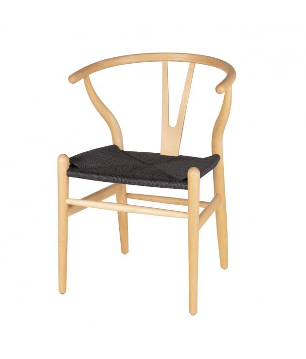 Silla de comedor Ada natural asiento negro