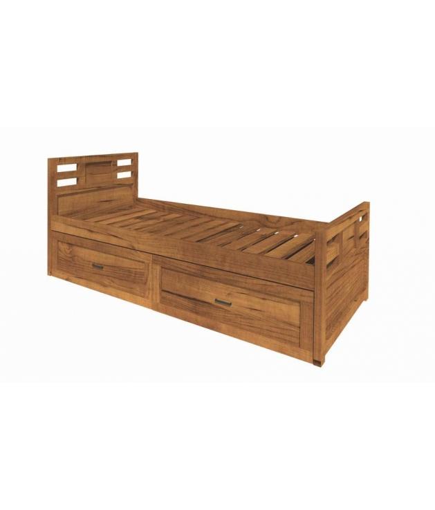 Comprar cama nido de 90 cm con cajones de madera modular for Cama nido color madera