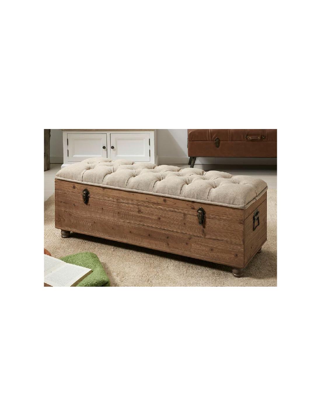 Comprar ba l descalzador con caja de madera y tapizado beige - Como decorar un baul de madera ...