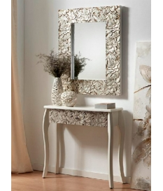 Consola recibidor madera tallada color plata 80 x 30 x 78 cm