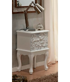 Telefonera madera blanca tallada 40x34x65 cm