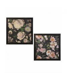 Set 2 cuadros madera con marco oscuro flores