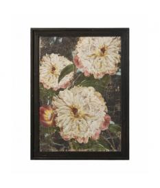 Set 2 cuadros madera flores enmarcados