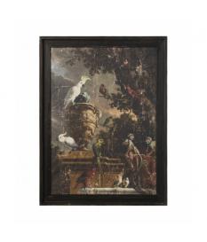 Set 2 cuadros madera cacatuas y monos