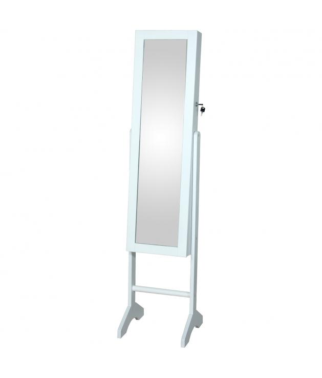 Espejo joyero pie de madera con puerta color blanco y llave