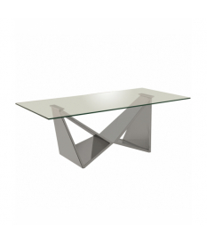 Mesa de centro con patas de metal con forma y encimera de cristal templado