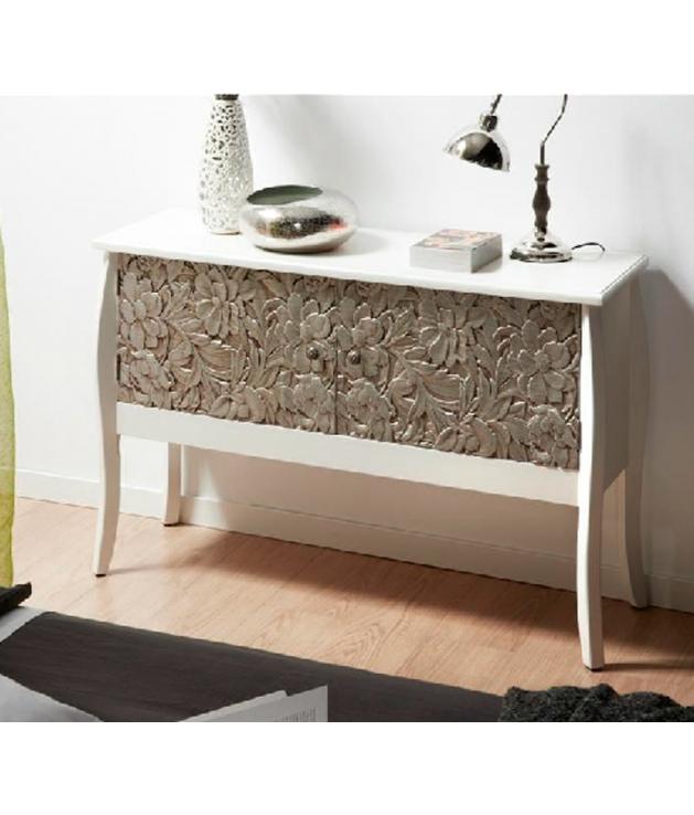 Comprar Aparador madera tallada plata 120x40x80 cm con puertas.