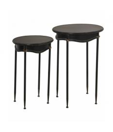 Set 2 mesas auxiliares metal negro