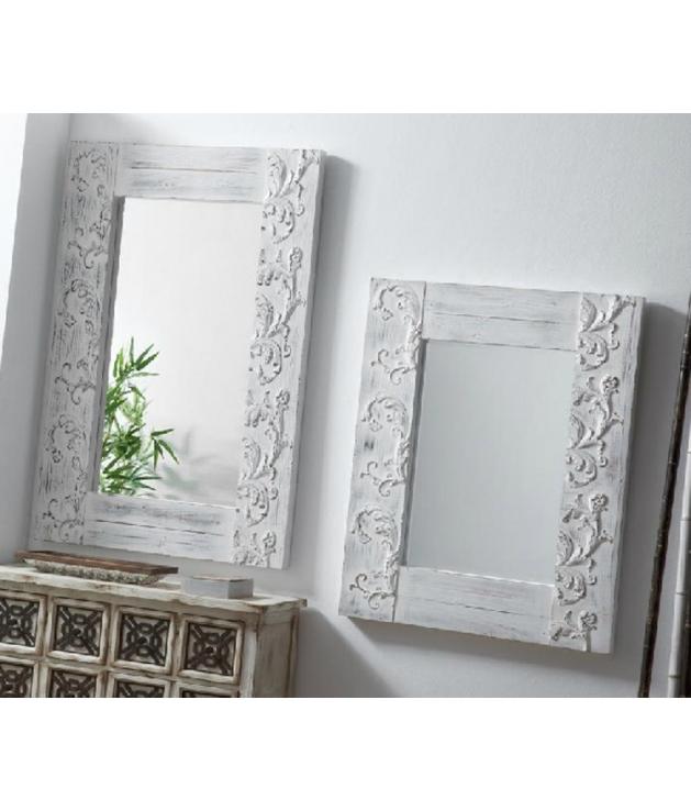 Comprar espejo decorativo tallado madera blanco envejecido for Espejo blanco envejecido