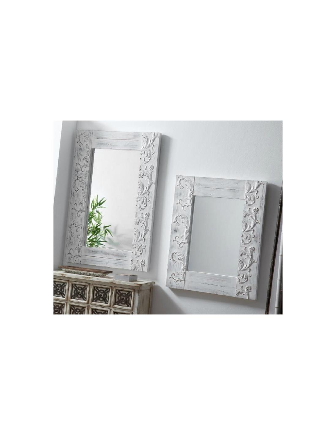 Comprar espejo decorativo tallado madera blanco envejecido for Espejo madera blanco