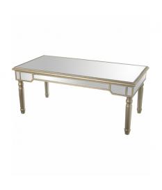 Mesa de centro en madera color gris con frentes en cristal espejo