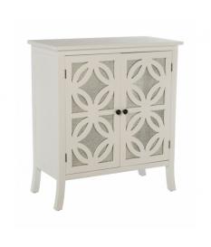 Mueble aparador 2 puertas en madera color blanco con detalle de espejo en las puertas