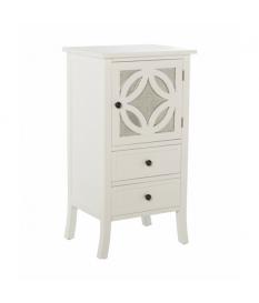 Mueble auxiliar con 2 cajones y 1 puerta madera color blanco detalle de espejo en puerta