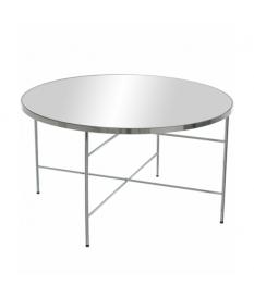 Mesa de centro redonda en acero cromado con cristal espejo